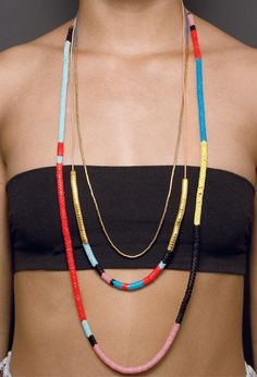 Image of EKKA MIXED NECKLACES - Ouroboros Designs makes necklaces and bracelets with these same African Trade Beads (snake beads)