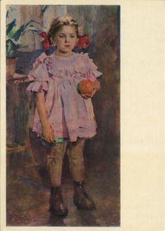 Божий Михаил Михайлович  (1911-1990) Таня с апельсином : 1955