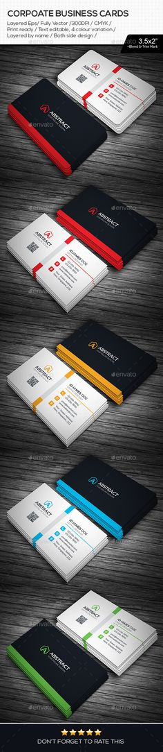 Abstract Corporate Business Cards By Generousart File Information Print Dimension With Bleed Trim MarkIllustrator EPS CMYK Ready Text Editable Both