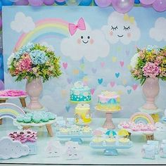 Fofura de Regrann from Unicorn Birthday, Unicorn Party, Girl Birthday, Shower Party, Baby Shower Parties, Baby Shower Themes, Cloud Party, First Birthday Parties, First Birthdays