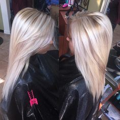 Blonde with a subtle lowlight! #lowlight #blonde #platinum #comeseeme…