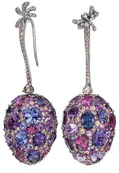 Cellini Jewelers ~ Sapphire and Diamond Drop Earrings