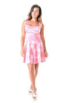 Robe courte évasée sweetheart en coton imprimé rose : Robe par gwaelonna dress / pink / ootd