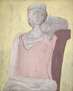 Pablo Picasso – Femme A La Robe Rose, Oil on canvas, 100 x 81 cm Pablo Picasso, Kunst Picasso, Picasso Blue, Picasso Art, Picasso Paintings, Picasso Portraits, Trinidad, Portraits Pastel, Mondrian