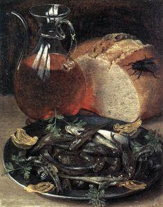 Georg Flegel (1563-1638) Stilleven met wijnkaraf en vis (1637) Olie op paneel 19 x 15 cm - Het Louvre