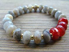 Beaded Stretch Bracelet, Gemstone Stacking Bracelet, Labradorite, Ruby Red Jade, Gold, Elastic Bracelet, Boho Chic, Gypsy Jewelry by BeJeweledByCandi