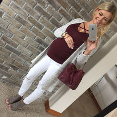 Wearing that same cardi from yesterday and this non-maternity cross-neck tee for… Maternity Dresses For Baby Shower, Winter Maternity Outfits, Fall Maternity, Stylish Maternity, Maternity Fashion, Maternity Clothing, Maternity Pants, Maternity Style, Pregnancy Wardrobe