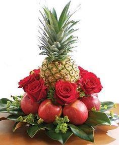 Tropical Flowers, Tropical Flower Arrangements, Flower Arrangement Designs, Edible Arrangements, Beautiful Flower Arrangements, Beautiful Flowers, Fruit Flower Basket, Fruit Flowers, Vegetable Bouquet