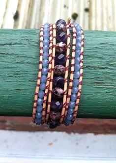 Bracelet Wrap 3 tours en cuir pierres fines par Ineptie sur Etsy