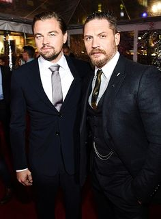 Leonardo DiCaprio and Tom Hardy attend the premiere of The Revenant