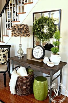 Home decorating ideas - entry foyer under the stairs with a console table and fresh spring green colors