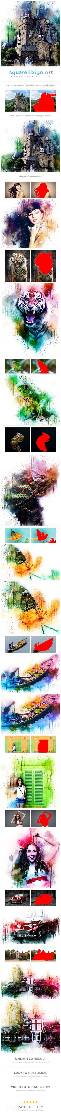 Aquarellixign #Art | PS Action - #Photo Effects #Actions
