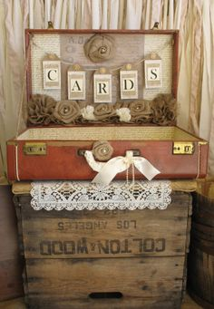 Vintage Suitcase Wedding Card Holder Shabby Chic Wedding Rustic Country Wedding Neutral Brown on Etsy, $199.00