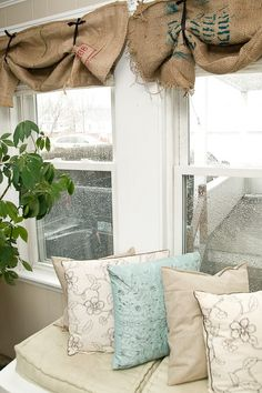 burlap valence and cozy window seat