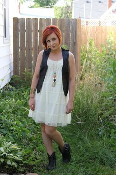 Thrift and Shout\ blog; Cute Outfit of the Day, My New Ankle Boots Styled, Goodwill, Target dress, vintage Henri Bendel leather vest, Target necklace, Target ankle boots, leather and lace, fashion, summer, red hair, thrift