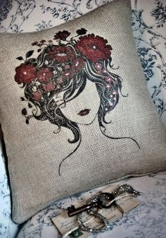 Burlap Pillow Cover the French Flower Girl pillows by JolieMarche