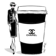Chanel designer coffee illustration by Megan Hess Megan Hess Illustration, Illustration Mode, Coffee Illustration, Fashion Art, Fashion Brands, Fashion Design, Fashion Posters, Paper Fashion, Fashion Pics