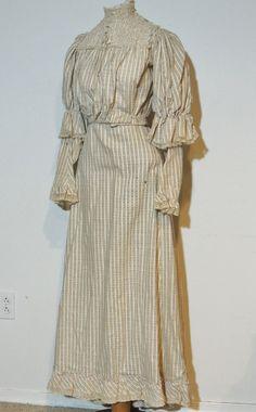 Victorian 1890's Cotton Dress White / Pink / Gray w Lace Trim SM | eBay