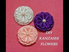 DIY kanzashi flowers,kanzashi tutorial,how to make,easy,kanzashi flores de cinta - YouTube