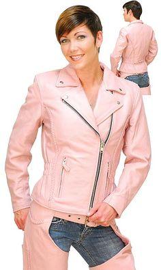 Light Pink Leather Jacket - Road Angel Motorcycle Jacket