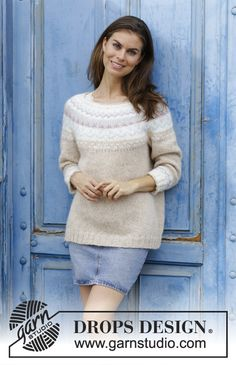 Women - Free knitting patterns and crochet patterns by DROPS Design Drops Design, Norwegian Knitting, Fair Isle Knitting Patterns, Crochet Patterns, How To Purl Knit, Pulls, Free Knitting, The Row, Pullover Sweaters