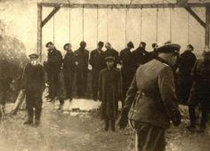 Belchatow, Poland, 18/03/1942, Ten hanged Jews on a gallows. A banker, manufacturer,business man, butcher, a weaver where some of their occupations