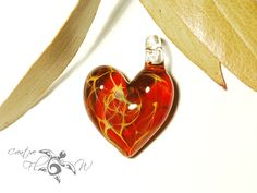 Heart Pendant Royal Red Heart Pendant Glass by CreativeFlowGlass