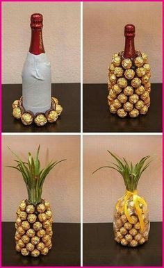 Wrap a bottle of wine and create a ferrero rocher pineapple Mitbringsel: Rocher-Sekt-Ananas Mitbringsel: Rocher-Sekt-Ananas I think you could do this with a coke bottle. Mitbringsel: Rocher-Sekt-Ananas is creative inspiration for us. Get more photo about Pineapple Gifts, Wine Pineapple, Pineapple Craft, Diy Cadeau, Navidad Diy, Ideas Navidad, Craft Gifts, Diy Party Gifts, Gift Ideas