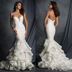 Charming Sweetheart Lace Beaded Sexy Mermaid White Chiffon Wedding Dresses, WD0181 The wedding dresses are fully lined, 4 bones in the bodice, chest pad in the bust, lace up back or zipper back are all available, total 126 colors are available. This dress could be custom made, there are no extra cost to do custom size and color. Description 1, Material:elastic satin, pongee,lace,chiffon,beads,rhinestone 2, Color: picture color or other colors, there are 126 colors are available, please…