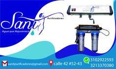 Un stikers para Sanit una empresa de purificadores de agua.