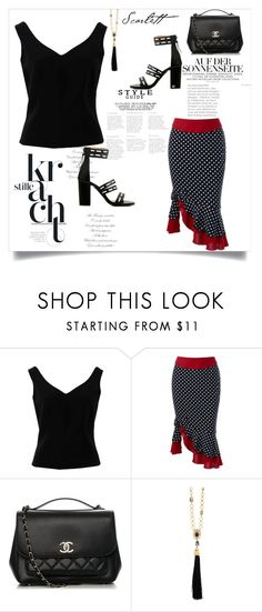 """Polka Dotted Skirt"" by roseforbes ❤ liked on Polyvore featuring ADAM, Chanel and Oscar de la Renta"