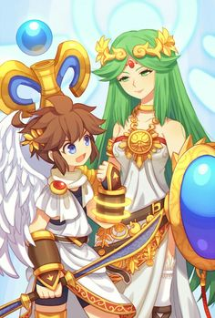 Palutena And Pit Kid Icarus Artwork By