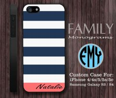 blue navy and pink monogram hard plastic case by familymonogram, $15.99