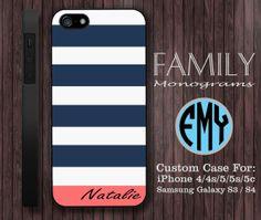blue navy and pink monogram hard plastic case by familymonogram, $15.99