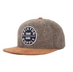 0ed5220c82d Brixton Oath III Men s Snapback Hat in Grey Copper. Six panel snapback cap  with a custom Brixton patch. Grey crown with copper brim.