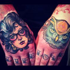 Girl & Owl Hand tattoo