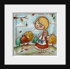 "Print of my original folk art mixed media painting   ""FAll Reflections"" ©dianeduda/dudadaze"
