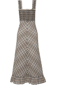 Ganni Charron Checked Cotton-blend Seersucker Maxi Dress In Nude & Neutrals Frill Dress, Smock Dress, Beige Maxi Dresses, Smocked Dresses, Friday Outfit, Seersucker Dress, Travel Dress, Trendy Outfits, Cool Girl