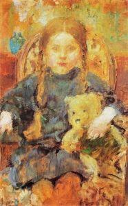 Girl with a Teddy Bear - Olga Boznańska - The Athenaeum A4 Poster, Poster Prints, Maria Emilia, Female Painters, Soviet Art, Vintage Artwork, Art Girl, Art For Kids, Modern Art