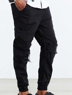 Frayed Drawstring Loose Fit Ripped Jogger Pants #CLICK! #clothing, #shoes, #jewelry, #women, #men, #hats, #watches