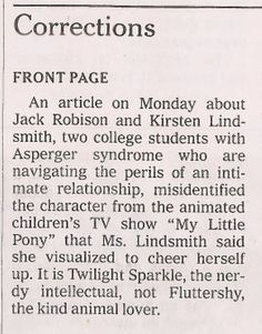 Because the New York Times made this honest correction about My Little Pony characters: