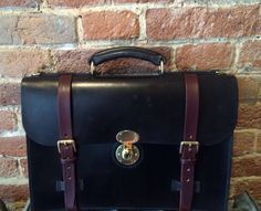 Classic English Leather Briefcase, accordion gusset by LederKupfer on Etsy