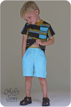 Clean Slate Pants pattern for boys by @mellysews  At @GoToPatterns Sew shorts or Pants
