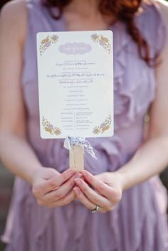 butter and lilac wedding...I like the idea of the program being on a fan. If we do an outdoor Arizona wedding, a fan may be very necessary!