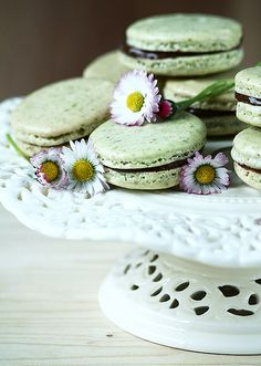Gorgeously hued, wonderfully yummy Chocolate Pistachio Macarons. #cooking #food #dessert #baking #macarons #chocolate #pistachios