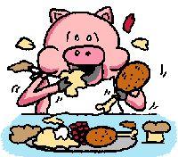 Pig eating breakfast - cartoon gif