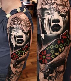 Abstract Face Tattoo by Timur Lysenko | Tattoo No. 12654