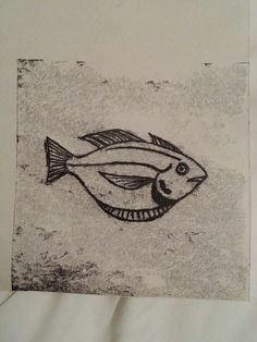 Mono print. Fish1. Mono Print, Simple Line Drawings, Fish Drawings, Free Motion Embroidery, Fish Print, Simple Lines, Under The Sea, Printmaking, Ink