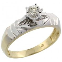 Gold Plated Sterling Silver Diamond Engagement Ring, 3/16 inch wide.