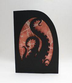 Paper cut Steampunk Tentacles Silhouette Greetings Card